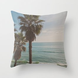 palm tree and ocean. California Vacation Throw Pillow