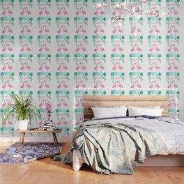 Pink Flamingos Together in the Jungle Wallpaper