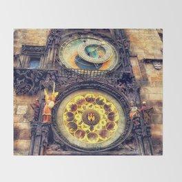 Prague Clock Orloj watercolor Throw Blanket