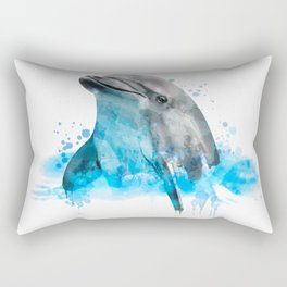 Dolphin Watercolor, Dolphin Painting, Dolphin Gift, Dolphin Poster, Dolphin Print, Dolphin Aquarelle Rectangular Pillow