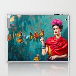 Frida Kahlo self-portrait butterflies pink flowers grunge Laptop & iPad Skin