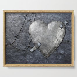Galvanized metal heart on iron background Serving Tray