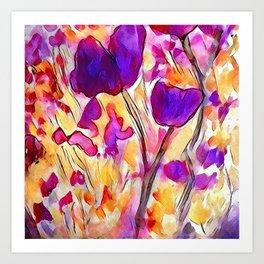 Poppies - Purple Watercolour Art Print