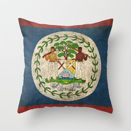 Old and Worn Distressed Vintage Flag of Belize Throw Pillow