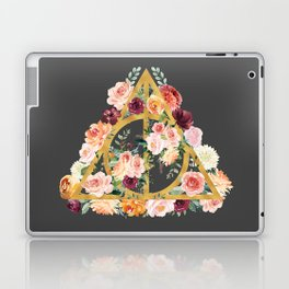 Watercolor Deathly Hallows - Gold/Charcoal Laptop & iPad Skin