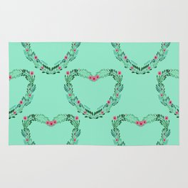 Heart Wreath Hand-painted in Green Ferns and Pink Blossoms on Tiffany Aqua Rug
