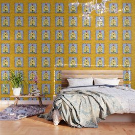 Busy Bees with Border Wallpaper