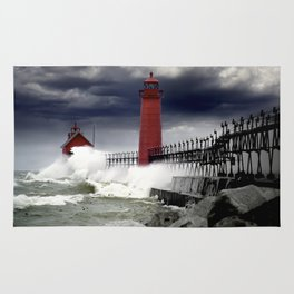 Storm at the Grand Haven Lighthouse in Michigan Rug