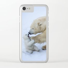 Polar bear with cub. Mother love. Clear iPhone Case