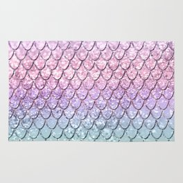 Mermaid Scales on Unicorn Girls Glitter #1 #shiny #pastel #decor #art #society6 Rug