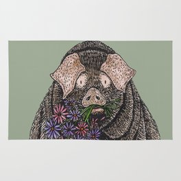 Pig with Flowers Rug