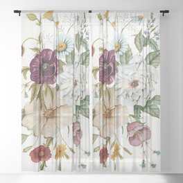 Colorful Wildflower Bouquet on White Sheer Curtain