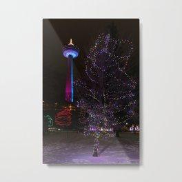Skylon Tower with Christmas Lights Metal Print