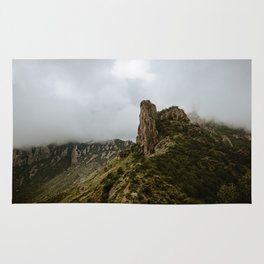 Foggy Mountaintop at Lost Mine Trail, Big Bend - Panoramic Rug