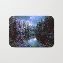 A Cold Winters Night : Violet Teal Green Winter Wonderland Bath Mat