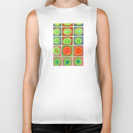 Green Grid filled with Circles and intense Colors Biker Tank