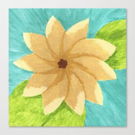 Yellow Painsetta on Aqua Background Canvas Print