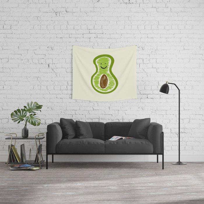 Smiling Avocado Food Wall Tapestry