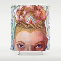 princess peach Shower Curtains featuring Princess Peach by Jodi Hoover Art