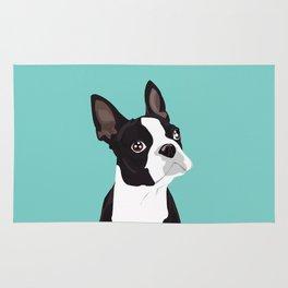 Boston Terrier Portrait - Blue Rug