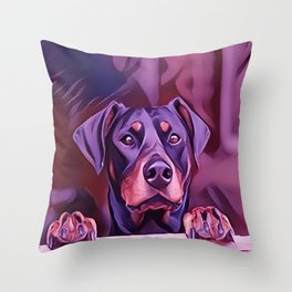 Doberman Looking Out The Window Throw Pillow