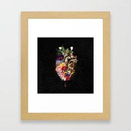 Dark Flower Heart :: Fine Art Collage Framed Art Print