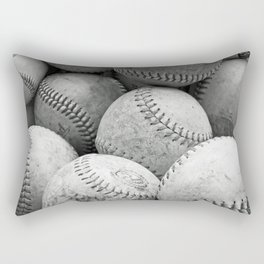 Vintage Baseballs in Black and White Rectangular Pillow