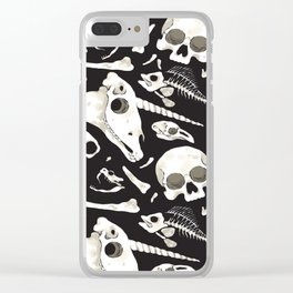 black Skulls and Bones - Wunderkammer Clear iPhone Case