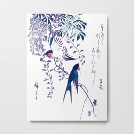 Swallow and Wisteria Metal Print