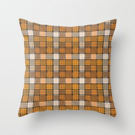 yellow basket weave plaid Throw Pillow