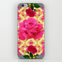 PINK GARDEN ROSES PATTERN  GREY ABSTRACT iPhone Skin