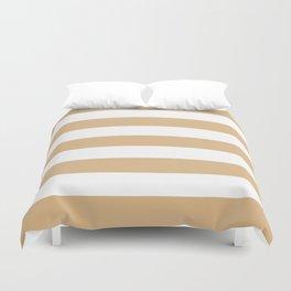 Burlywood - solid color - white stripes pattern Duvet Cover