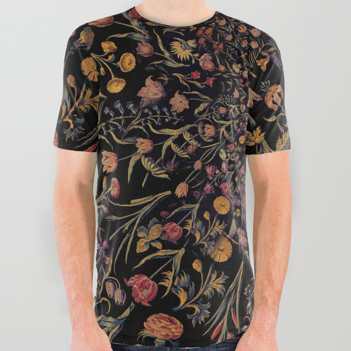 Medieval Flowers on Black All Over Graphic Tee