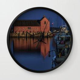 Moonlit Rockport Harbor Wall Clock