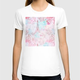 I love Paris - Vintage  Shabby Chic in pink - Eiffeltower France Flowers Floral T-shirt