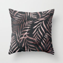 Rose Gold Leaves on Dark Gray Black Throw Pillow