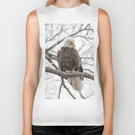 Bald Eagle on a branch Biker Tank