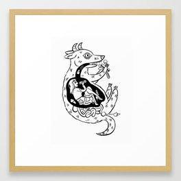 Hungry Black and White Framed Art Print