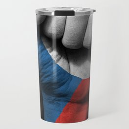 Czech Flag on a Raised Clenched Fist Travel Mug
