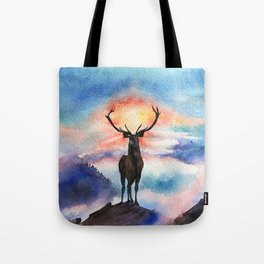 Deer on the top of the World - Watercolor Painting Art Tote Bag