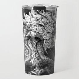 Dark Side Japanese Dragon portrait on black background   Graphit Travel Mug