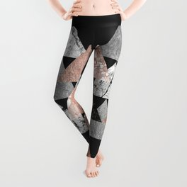Marble Rose Gold Silver and Floral Geo Triangles Leggings