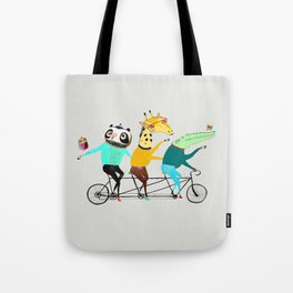 Animals biking. bike art, bike decor, bikes. Tote Bag