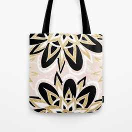 Modern black gold pink abstract floral pattern Tote Bag