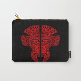 Red and Black Aztec Twins Mask Illusion Carry-All Pouch