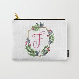 Jungle Gold Monogram Crest F Carry-All Pouch