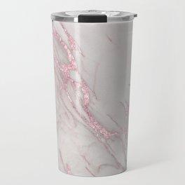 Marble Love Rose Gold Pink Metallic Travel Mug