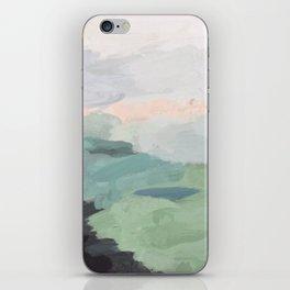 Seafoam Green Mint Black Blush Pink Abstract Nature Land Art Painting iPhone Skin