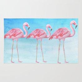 Flamingo Bird Summer Lagune - Watercolor Illustration Rug
