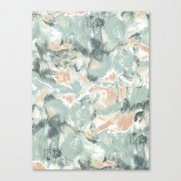 Marble Mist Green Peach Canvas Print